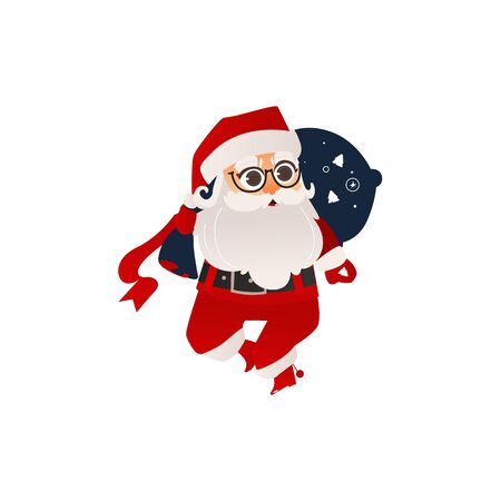 vector flat cartoon santa claus in christmas stockings and hat , carrying big bag with presents boxes. Holiday illustration isolated on a white background Illustration