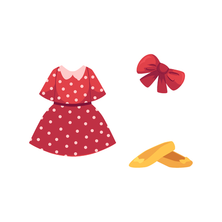 vector flat cartoon girl kid child outfit apparel set - red dotted dress, yellow shoes and red festive fancy bowtie. Isolated illustration on a white background.