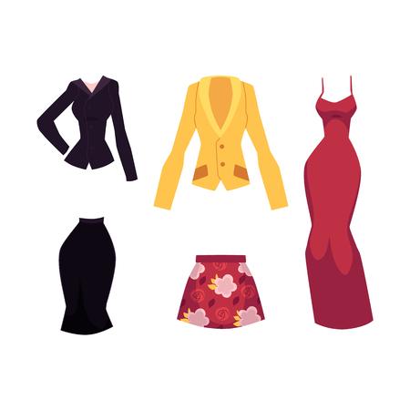 벡터 평면 여자 복장 의류를 설정합니다. 붉은 꽃 무늬 치마와 사무용 복장, 이브닝 드레스와 노란 재킷. 세련 된 유행 스타일 여성입니다. 흰색 배경에 고립 된 그림입니다. 스톡 콘텐츠 - 88461716