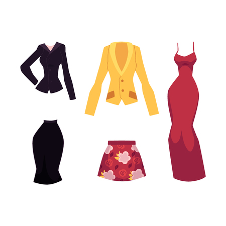 vector flat woman outfit apparel set. Red floral print skirt and office corporate suit, evening dress and yellow jacket. Fashionable trendy style female. Isolated illustration on a white background.