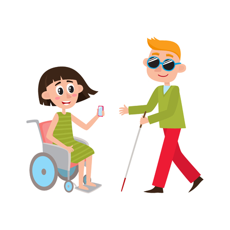 Woman sitting in wheelchair and blind man with walking cane, cartoon vector illustration isolated on white background. Cartoon, comic style people with disabilities - woman in wheelchair, blind man Illustration