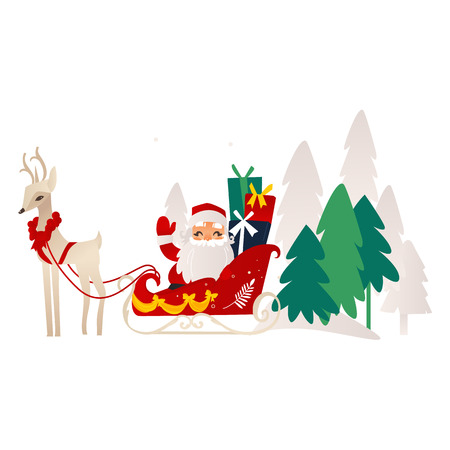 vector flat cartoon santa claus in christmas stockings and hat sitting at decorated sleigh riding flying reindeer smiling. Holiday illustration isolated on a white background.