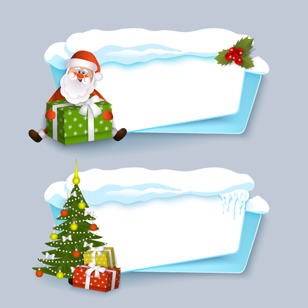 vector cartoon winter empty banner templates wit snow caps, icicles and christmas new year holidays symbols - spruce tree with presents, santa claus with bgift box set. Illustration on grey background