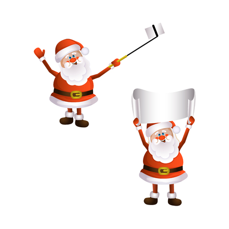 vector cartoon Santa Claus standing keeping blank white paper with free text space and another one makes selfie by stick. Illustration isolated on a white background. Christmas ,new year poster design Illustration