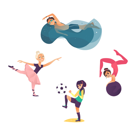 vector cartoon kids doing sports set. Girl playing football, another one doing stretching gymnastics exercise with ball, ballerina dancing, boy swimming in pool. Isolated illustration white background Illustration