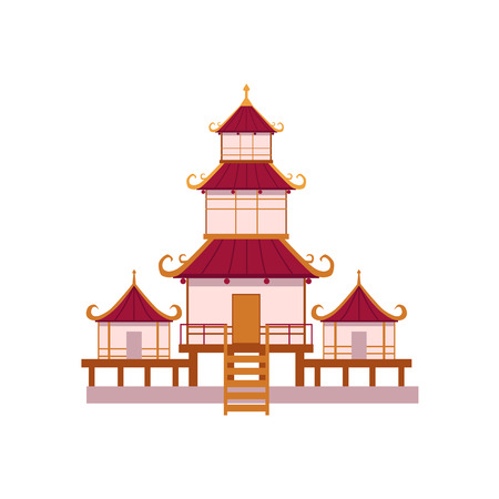 Flat style tiered Japanese, Chinese, Asian traditional pagoda building, front view cartoon vector illustration isolated on white background. Traditional Japanese, Chinese, Asian pagoda building Illustration