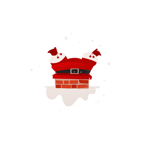 vector flat cartoon santa claus in red holiday christmas uniform stuck in the chimney on the roof. Holiday illustration isolated on a white background. Ilustração
