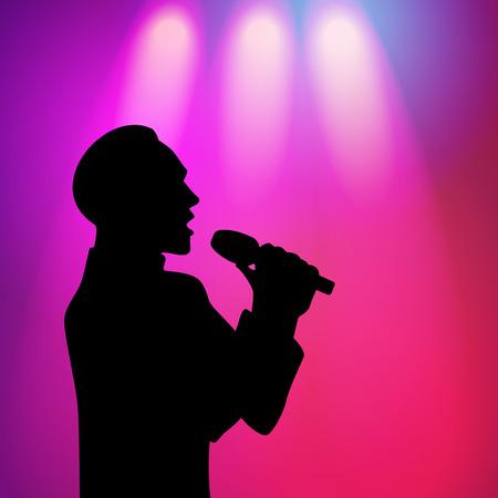 벡터 스포트라이트와 함께 보라색 배경에 마이크와 유행 이발 실루엣 초상화 남자 노래. 컬러 배경 그림입니다.