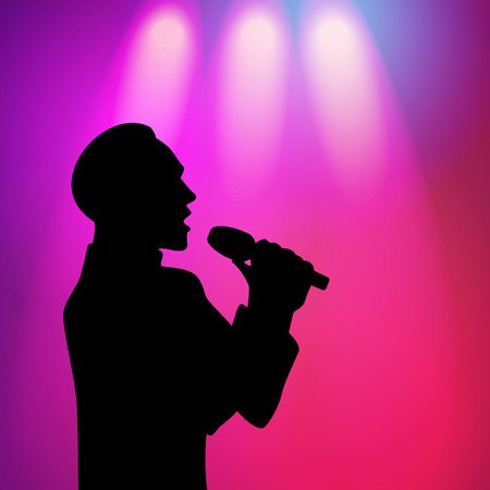 vector man with fashionable haircut silhouette portrait singing with microphone on purple background with spotlights. illustration on colored background. Çizim