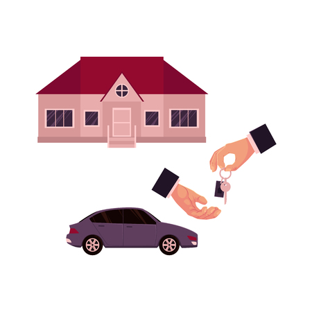 Mannelijke handen die en een sleutel, een auto en een huis, huis, bezitsaankoop, huur, verkoopconcept, beeldverhaal vectorillustratie op witte achtergrond geven nemen. Mannelijke handen geven en nemen sleutel voor huis of auto