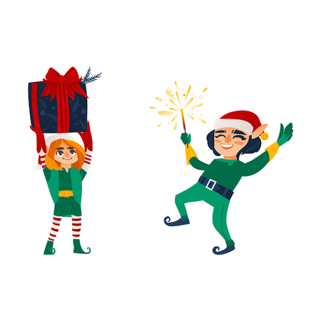 Two happy Christmas elves, Santa little helpers, holding present box, lighting a sparkler, flat cartoon vector illustration isolated on white background. Couple of happy Christmas elves, Santa helpers