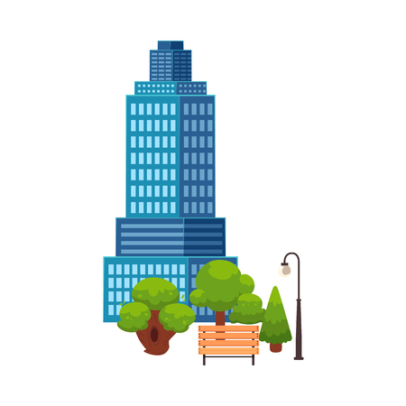 vector flat cartoon cityscape with tall Skyscraper building, office centers shopping mall and city apartment house, park with trees, streetlight and bench. Illustration on blue background