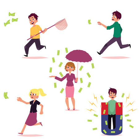 vector flat girl, woman in casual clothing character standing under money rain with umbrella, man with magnet attracting dollars people running for money set. Isolated illustration on white background