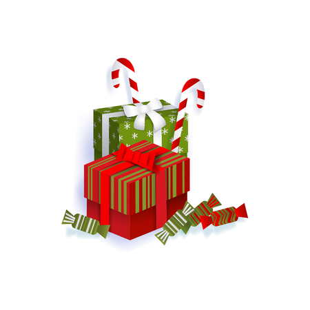 vector flat paper square box presents gitfs with ribbon bow, christmas lollipops and candies. Isolated illustration on a white background. Winter holiday symbols concept