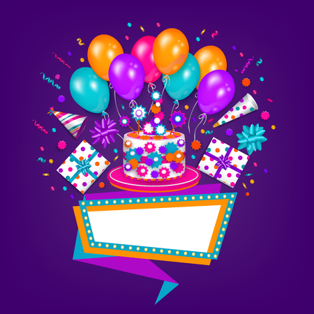 Happy Birthday greeting card, poster design with cake, present, party hat, balloon and blank banner board, vector illustration on dark background. Birthday greeting card, banner with space for text Illustration