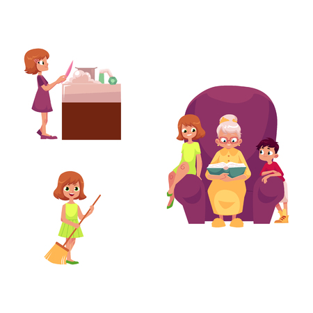 vector flat grandparents and children set. boy, girl kids listening to grandmother reading book, sitting at chair, girls wash dishes at sink, sweep floor. Isolated illustration on a white background.