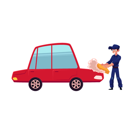 Auto mechanic, car service worker cleaning, washing a car with sponge and soap, cartoon vector illustration isolated on white background. Cartoon auto mechanic, technician washing, polishing a car Stok Fotoğraf - 88528386