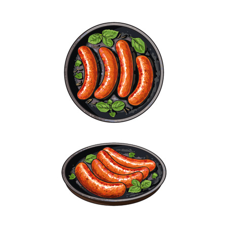 Top view, side view pictures of four freshly grilled, barbequed sausages on frying pan, sketch vector illustration on white background. Realistic hand drawing of grilled, fried sausages on frying pan