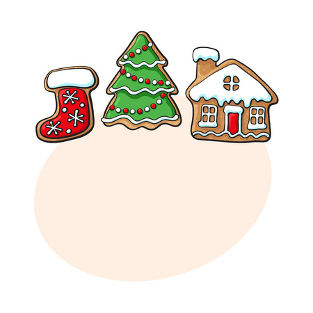 Set of glazed Christmas tree, village house and Santa boot gingerbread cookies, sketch vector illustration isolated on white background with speech bubble