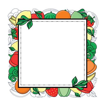 Vecteur plat croquis style frais fruits mûrs, modèle carré de légumes, cadre. Pomme, pomme de bellépe citron vert, poire de melon d'eau, banane à l'orange et aux fraises, brocoli. Fond blanc illustration isolé Banque d'images - 88751365