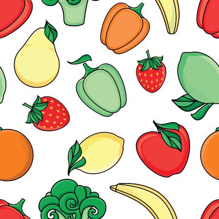 Vector croquis plat style fruits mûrs frais, modèle sans couture de légumes. Pomme, citron vert, pomme, pastèque, banane orange à la fraise, brocoli. Illustration isolée sur fond blanc Banque d'images - 88751366