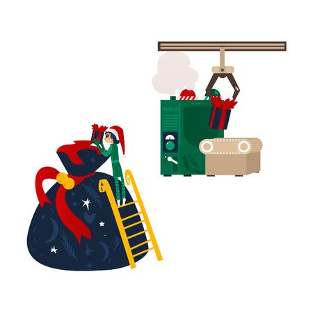 Sankt-Werkstatt Weihnachtselfe, die ein Geschenk in enorme Tasche, Geschenkherstellungsmaschine, flache Karikaturvektorillustration lokalisiert auf weißem Hintergrund setzt. Weihnachtsgeschenkbeutel, Weihnachtself und Geschenkförderer Standard-Bild - 88751367