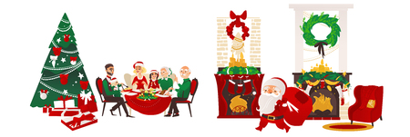 vector christmas holiday scenes set. Santa standing with present bag, fireplace with stocking, room with spruce tree, chair and presents, family sitting at table. Isolated illustration. Illustration