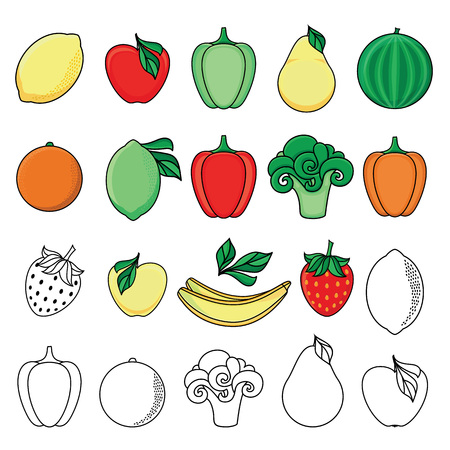 vector flat sketch style fresh ripe fruits, vegetables set. Apple, lime bellpepper apple, watermelon pear, orange strawberry banana, broccoli and monochrome versions. Isolated illustration