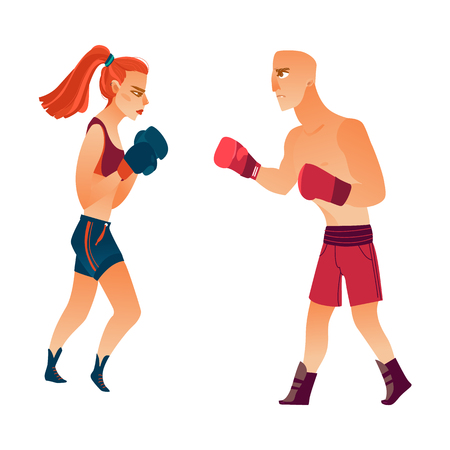 vector cartoon stylized muscular strong cute beautiful woman, girl and strong man in boxing stand with green red gloves in fighting position set. Isolated illustration on a white background.