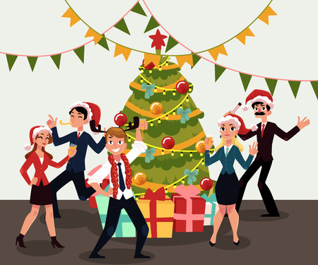 People in Santa Claus hats having corporate Xmas party, celebrating Christmas in office, cartoon vector illustration. People in Santa Claus hats having fun at Christmas party, dancing around Xmas tree