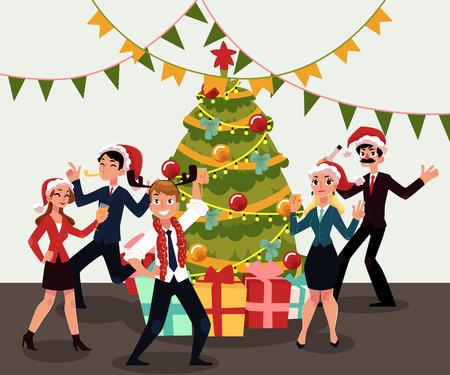 Leute in Santa Claus-Hüten, welche die Unternehmensweihnachtspartei, Weihnachten im Büro feiern, Karikaturvektorillustration haben. Leute in Weihnachtsmann-Hüten, die Spaß an der Weihnachtsfeier haben und um Weihnachtsbaum tanzen Standard-Bild - 88751395