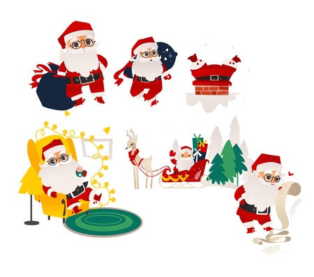 vector flat cartoon santa claus in christmas clothing riding reindeer flying sleigh, holding paper scroll, carrying presents bag, stuck in chimney, sitting in armchair set. Illustration isolated Ilustracja