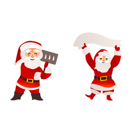 vector flat santa claus in christmas clothing holding paper scroll smiling, and standing with placard with spruce trees set. Holiday illustration isolated on a white background.