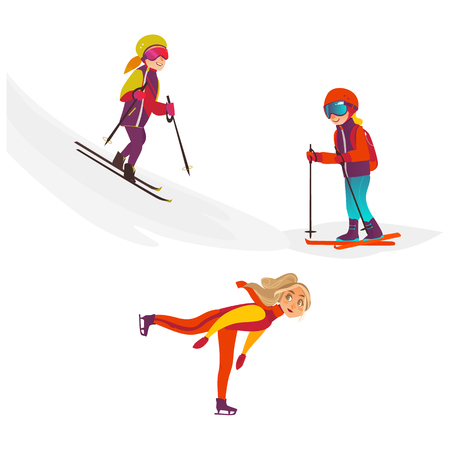 vector cartoon teens doing sports set. Girl and boy having fun skiing in winter outdoor clothing, protective goggles and backpack, woman ice skating. Isolated illustration on a white background.