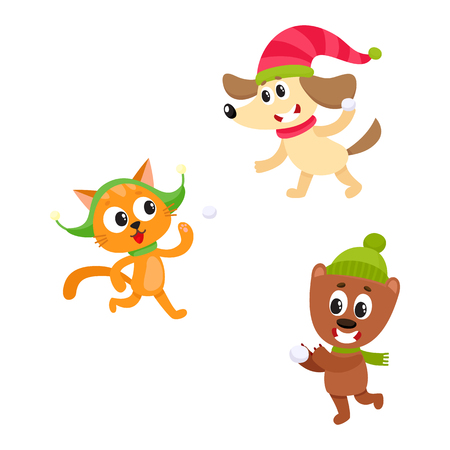 Cute little cat, dog and bear characters playing snowballs, having fun in winter, cartoon vector illustration isolated on white background. Little baby cat, dog and bear characters playing snowballs