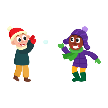 vector boys having fun with snow outdoors. Flat cartoon isolated illustration on a white background. Kid plays with snowball smiling outdoors. Winter children activity concept