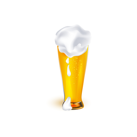 vector realistic full glass of golden lager cool beer with thick white foam mockup closeup. Ready for your design product packaging. Isolated illustration on a white background.