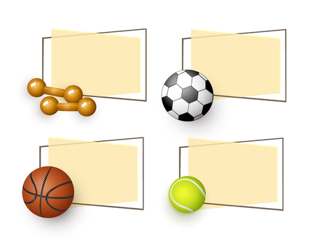 vector flat sport equipment banners set. basketball, football or soccer, tennis ball and dumbbells objects with paper banner in frame with free space for your text. illustration on orange background