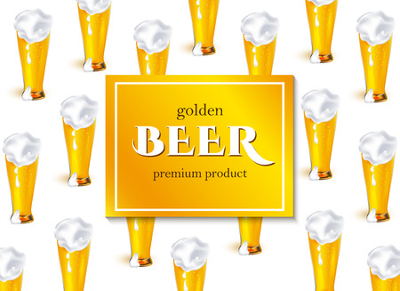 벡터 포스터, 배너 또는 두꺼운 하얀 거품 패턴 템플릿으로 황금 라 거 맥주의 전체 유리 현수막. 디자인을위한 준비 mockup입니다. 흰색 배경에 고립 된  일러스트