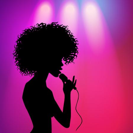 Vecteur afro américain silhouette belle silhouette chant avec microphone sur fond violet avec des projecteurs. illustration sur fond coloré. Banque d'images - 88751426