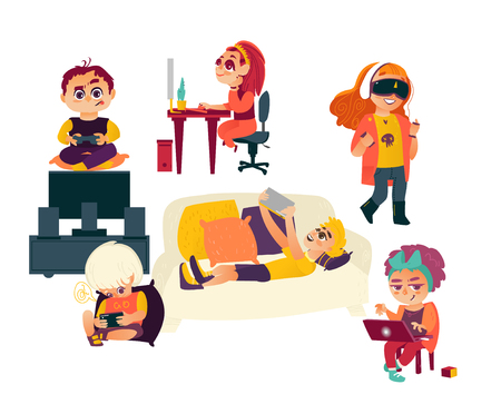 Kids, children using gadgets - computer, laptop, tablet, smartphone, game console, virtual reality glasses, flat cartoon vector illustration isolated on white background. Kids and technologies
