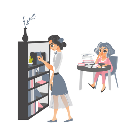 vector cartoon people reading books set. Woman in pink sitting at table with books thinking at home or library, another girl stands near bookcase. Isolated illustration on a white background Illustration