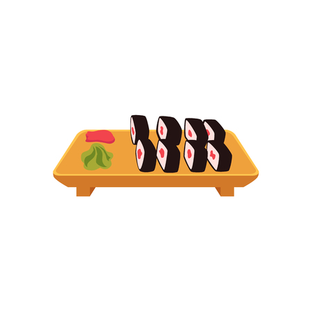 nori: Plate of Japanese sushi set, side view cartoon style vector illustration isolated on white background. Sushi, maki roll serving plate with ginger and wasabi, Asian, Chinese, Japanese cuisine