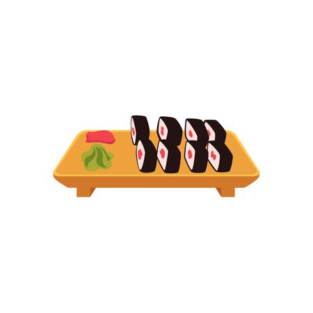 Piatto dell'insieme di sushi giapponese, illustrazione di vettore di stile del fumetto di vista laterale isolata su fondo bianco. Sushi, maki roll che serve piatto con zenzero e wasabi, cucina asiatica, cinese, giapponese