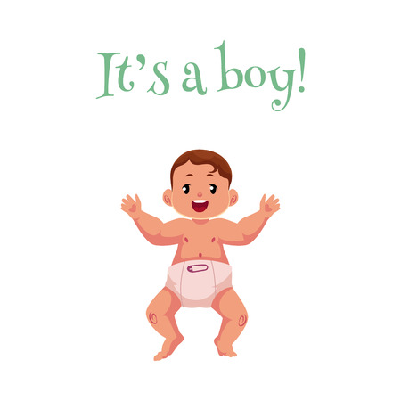 vector flat cartoon style newborn cute infant baby boy toddler in diaper or nappy smiling lying on his back, its a boy inscription. Isolated illustration on a white background.