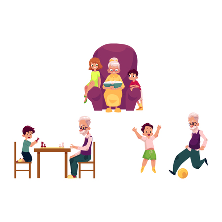 vector flat grandparents ,children set. boy, girl kids listening to grandmother reading book, sitting at chair, grandson grandfather play chess, football . Isolated illustration on a white background.