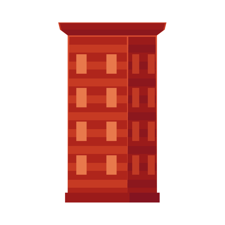 vector flat cartoon skyscraper building, office center business architecture, brown colored. Isolated illustration on a white background. Illusztráció