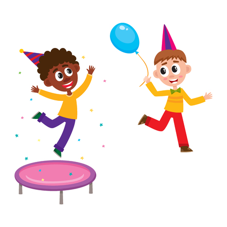 Kids having fun at birthday party, jumping on trampoline and running with balloon, cartoon vector illustration isolated on white background. Black and Caucasian kids, boys having fun at birthday party Illustration