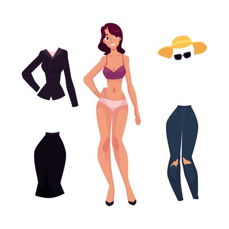 벡터 평면 여자와 사무실의 유니폼 치마와 블라우스, 데님 청바지, 여름 모자와 선글라스. 복장 집합입니다. 유행 유행 스타일의 여성 의류. 흰색 배경