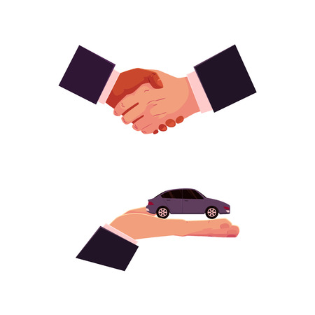 Handshake and hand holding car, automobile selling, leasing, purchase, rental concept, cartoon vector illustration on white background. Car purchase, rental concept with giving hand and handshake Çizim